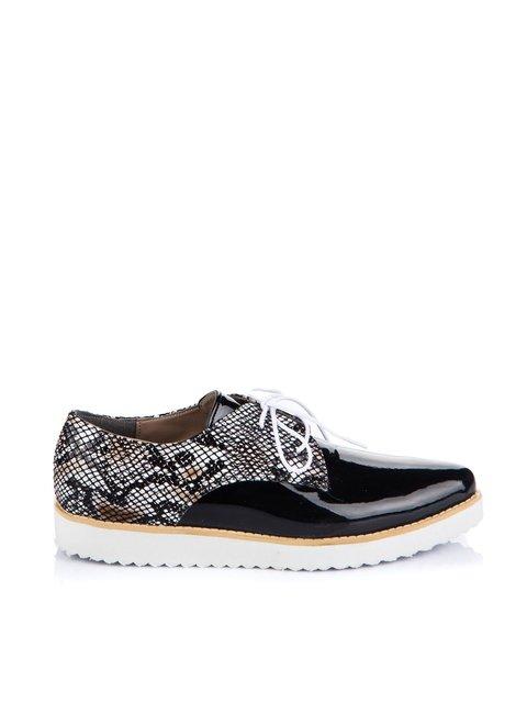 Туфли черные с анималистическим принтом Pembe Potin 1624860