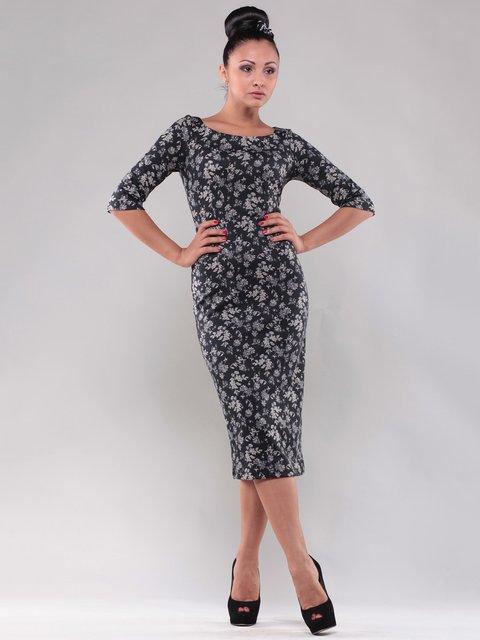 Сукня чорна в квітковий принт Dioni 1638425