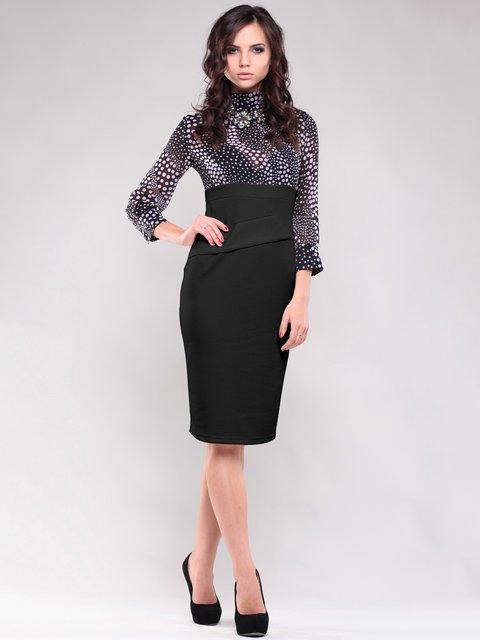 Платье серо-черное в горошек Maurini 1687081