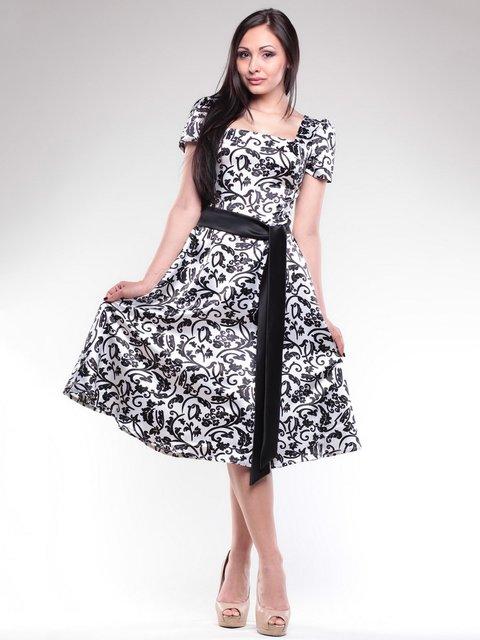 Платье бело-черное в принт Dioni 1716882