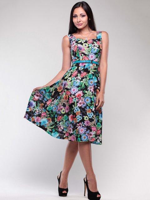 Платье черное в цветочный принт Maurini 1754258