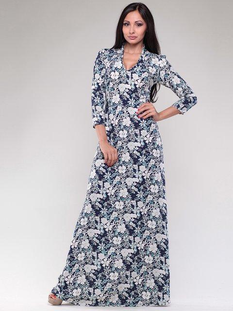 Платье темно-синее в цветочный принт Rebecca Tatti 1785657