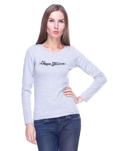 Лонгслив серый с надписью Pepe Jeans 1443439