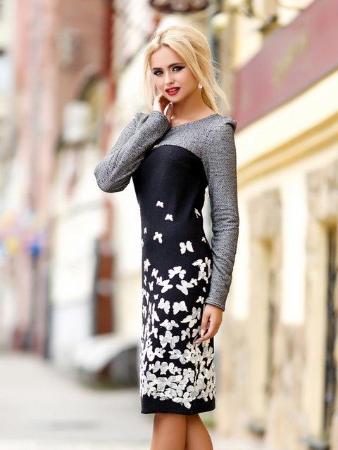 Платье черно-серое с принтом Seventeen 1869316