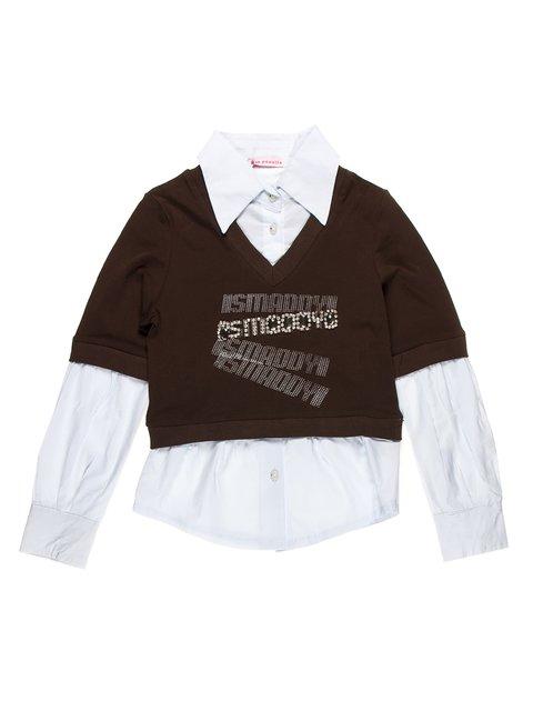 Джемпер коричневый с блузой-обманкой Hoo Ponette 1878982