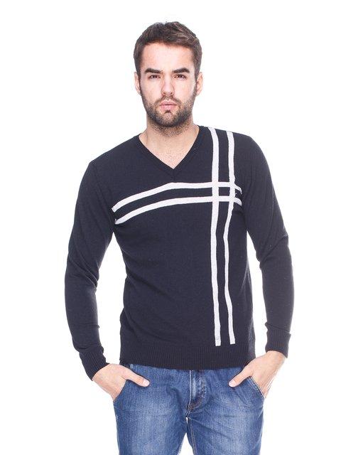 Пуловер черный с контрастными полосками VD one 1636010