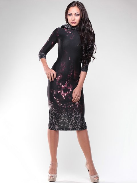 Платье черное в принт Maurini 1934771