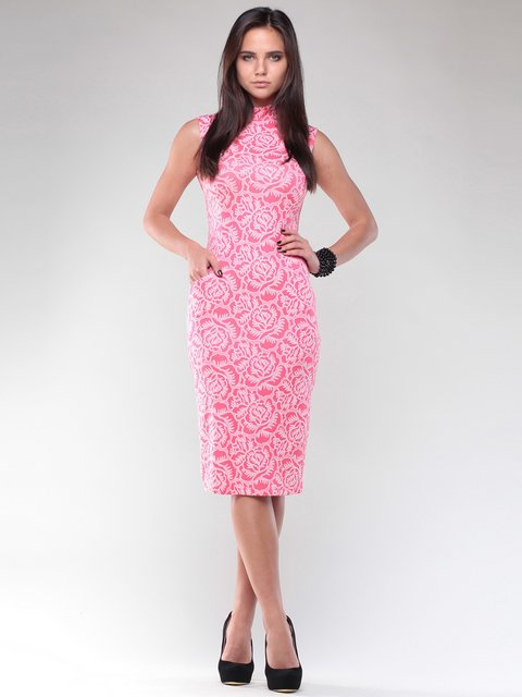 Платье коралловое в цветочный принт Maurini 1946825