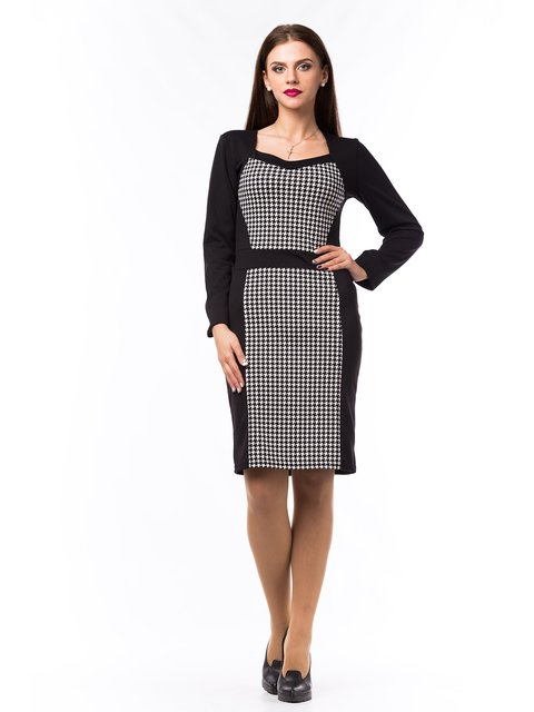 Платье черное с рисунком в гусиную лапку BesTiA 1801010