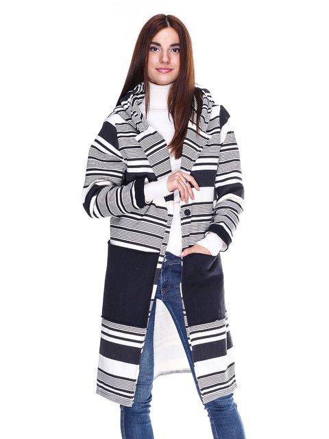 Пальто чорно-біле в смужку SophyLine 1990408