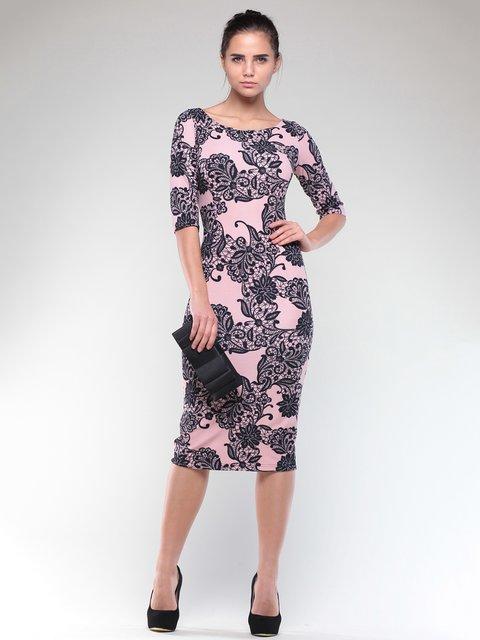 Сукня персиково-чорна в принт Dioni 2004375