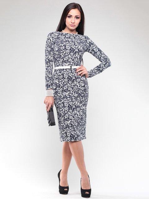 Платье синее в цветочный принт Rebecca Tatti 2029361