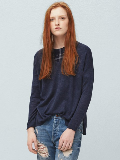 Пуловер синий Mango 2076678