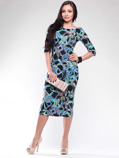 Платье черное в принт Dioni 2111044