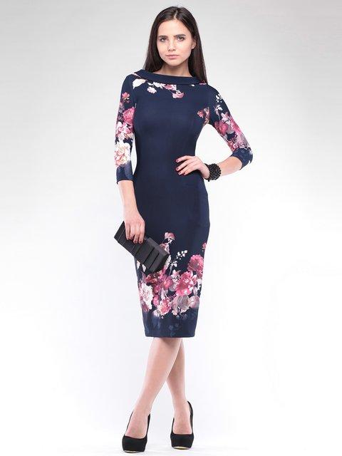 Платье темно-синее в принт Maurini 2097943