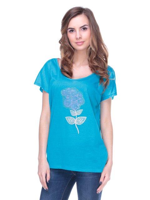 Футболка голубая с цветочным принтом Nolita 2146576