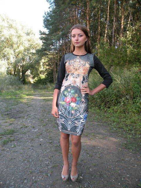 Платье черное с принтом VSV 2278919