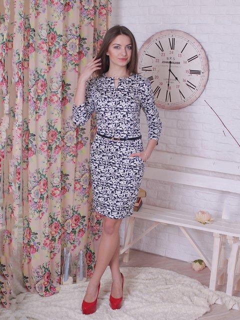 Платье сине-белое в принт VSV 2278953