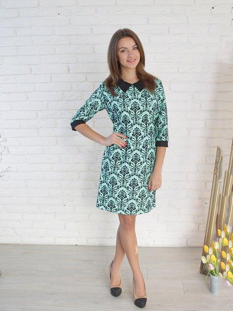 Платье мятного цвета в принт VSV 2278990