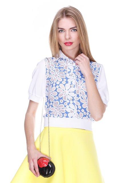Блуза біло-блакитна з квітковим малюнком MOONLIGHT 2273977