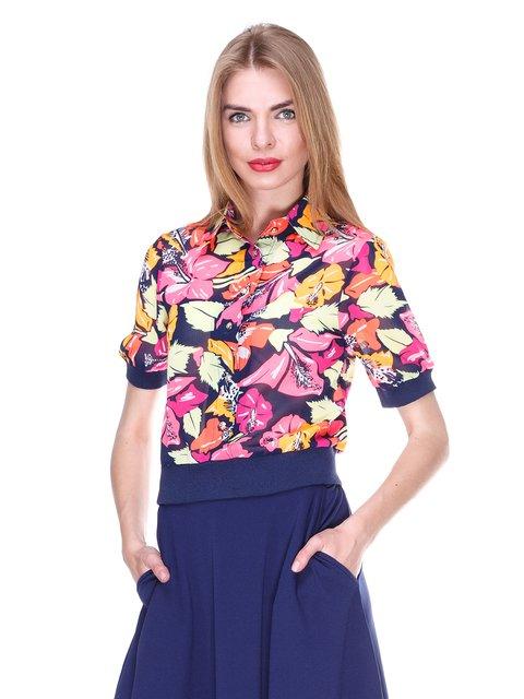 Блуза темно-синяя с цветочным принтом MOONLIGHT 2273972