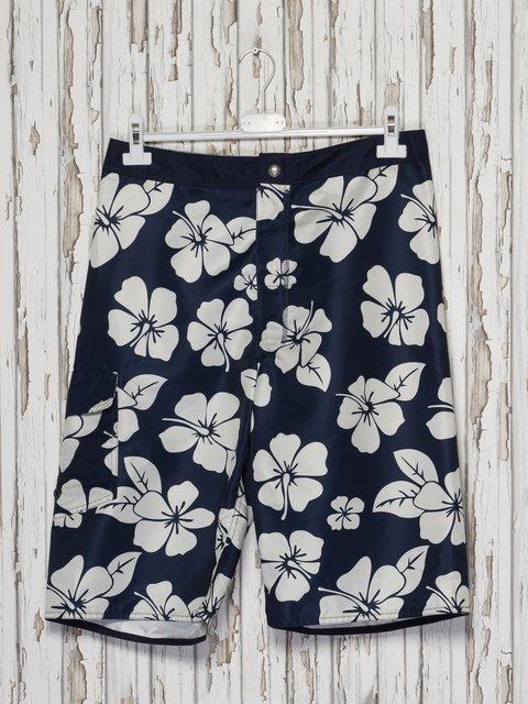 Шорты темно-синие в цветочный принт купальные Gloria Jeans 2290158
