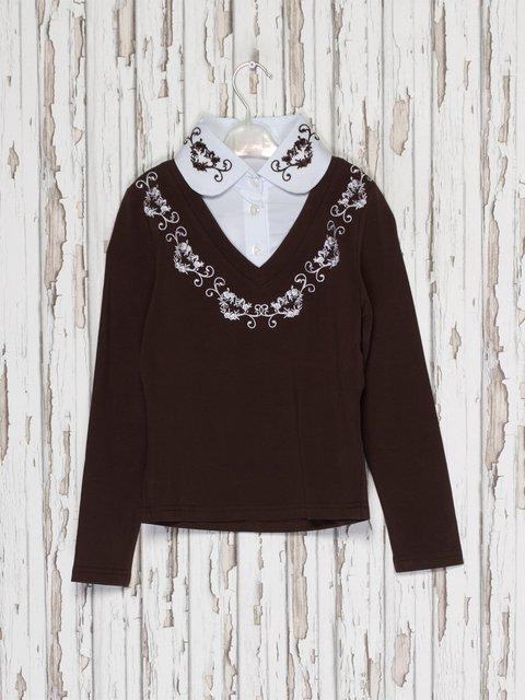 Джемпер коричневый с блузой-обманкой Hoo Ponette 2275941