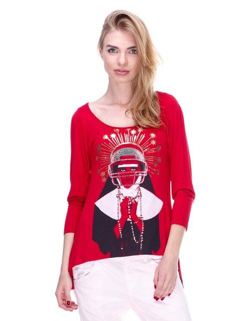 Джемпер красный с принтом JUST-R 2309148