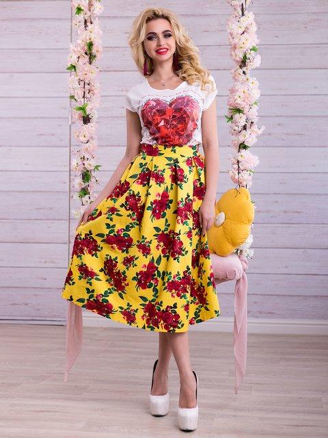 Спідниця жовта в квітковий принт Seventeen 2345704