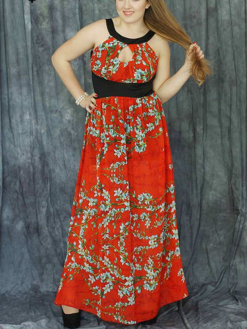 Сарафан красный в цветочный принт Luzana 2460317