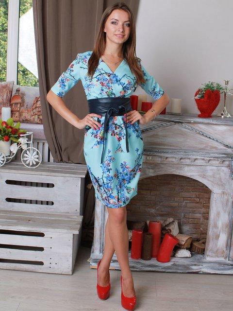 Платье голубое в принт VSV 2560975