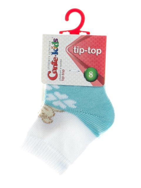 Шкарпетки бірюзово-білі з малюнком Conte Kids 2626380