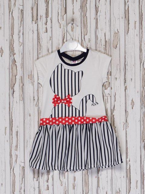 Платье бело-синее с принтом Pink 2558017