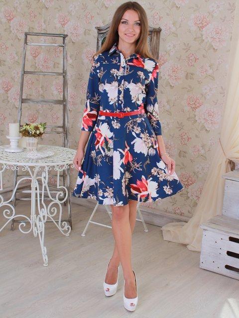Платье синее в цветочный принт VSV 2639170