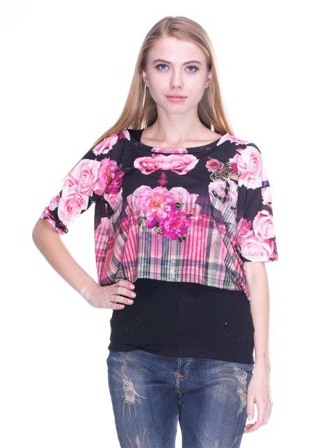 Блуза черная с принтом JUST-R 2638738