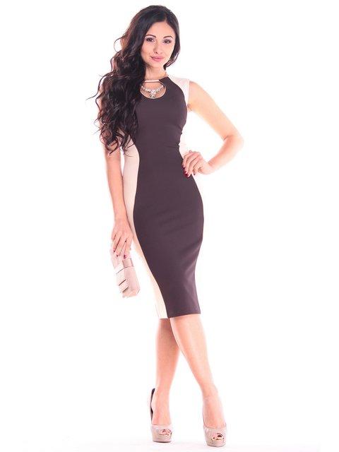 Платье бежево-шоколадного цвета Rebecca Tatti 2753935