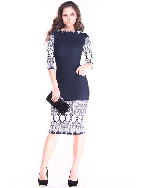 Платье темно-синее в принт Maurini 2828239