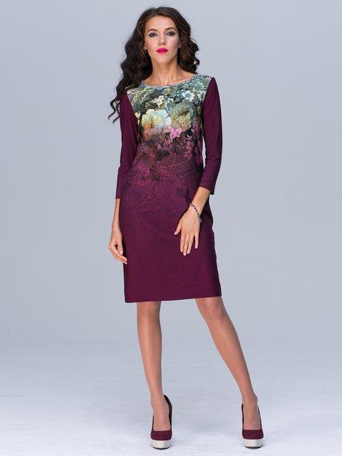 Платье бордовое с принтом Jet 2876160