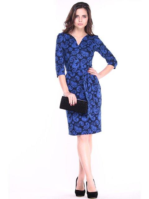 Платье черно-синее в принт Rebecca Tatti 2878140