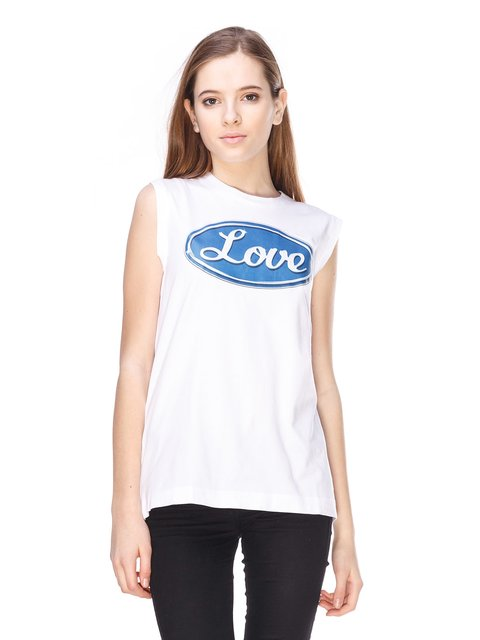 Майка біла з принтом Love Moschino 2191627