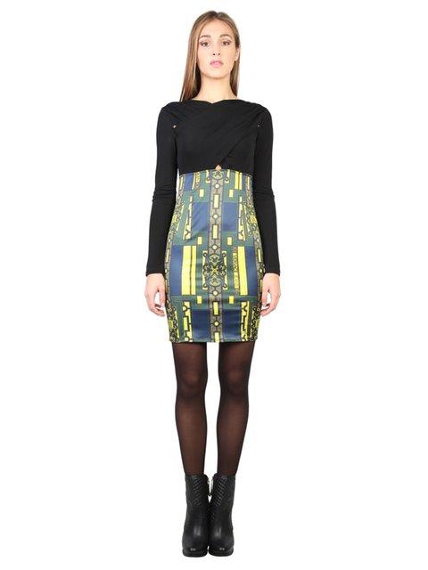 Сукня чорна з принтом Versace Jeans 2898432