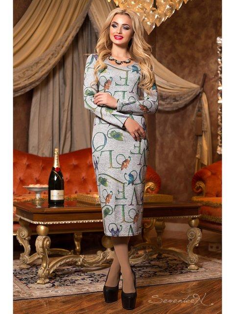 Сукня сіра в принт Seventeen 2891242