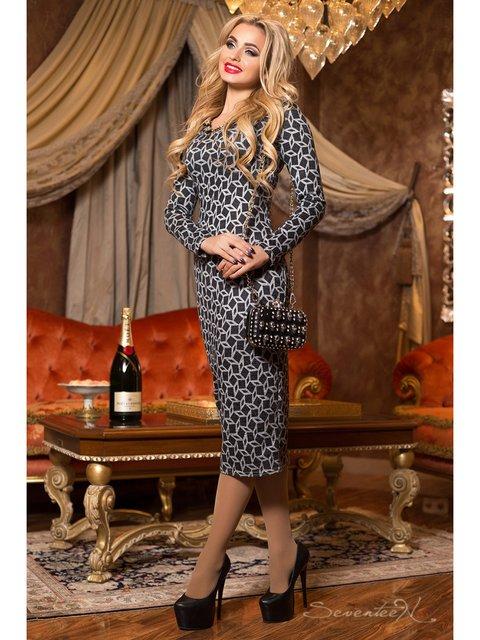 Платье черное в принт Seventeen 2891254
