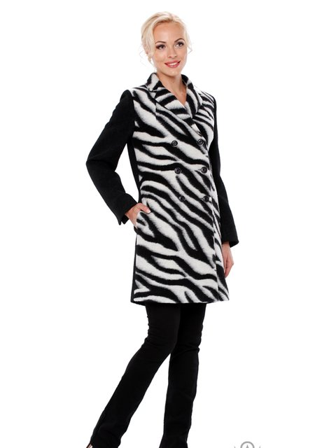 Пальто черное в анималистический принт Lesya 2908051