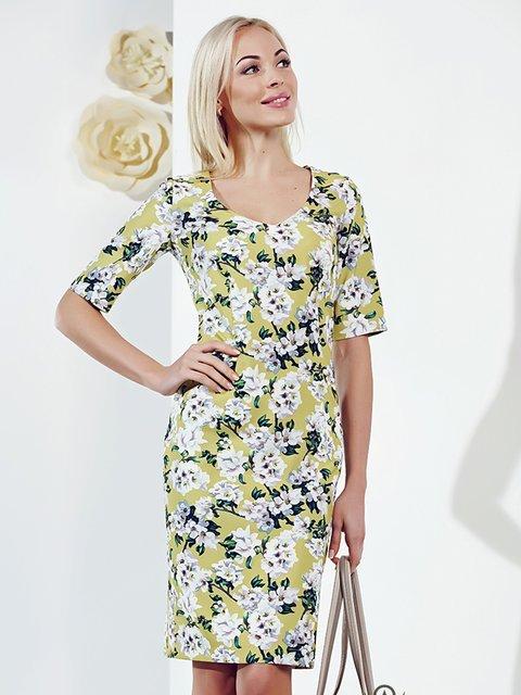 Платье зеленое с принтом Lesya 2937146