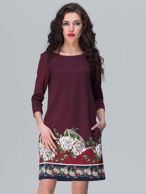 Сукня бордова з квітковим принтом Jet 2945762