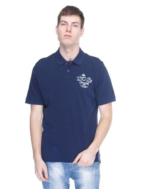 Футболка-поло синя з принтом Brax 2333321