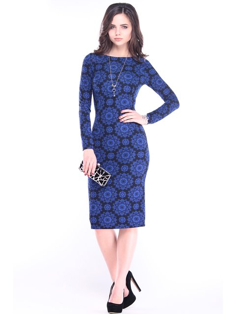 Платье синее в принт Rebecca Tatti 2952428