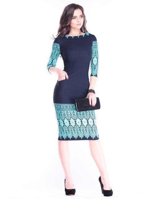 Сукня темно-синя в принт Maurini 2962869