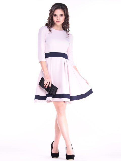 Платье бежево-синего цвета Rebecca Tatti 2917936